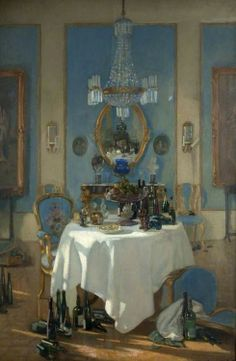◇ Artful Interiors ◇ paintings of beautiful rooms - A Chateau in France - Patrick William Adam