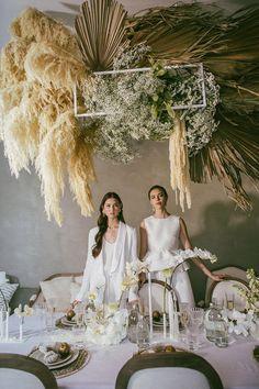 Boho Wedding Decorations, Wedding Centerpieces, Floral Wedding, Wedding Flowers, Dream Wedding, Wedding Day, Flower Installation, Lesbian Wedding, Event Styling