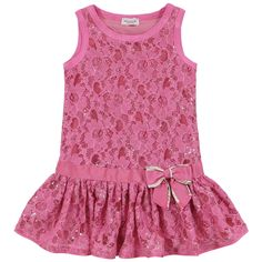 Sleeveless geranium pink lace dress with shiny sequins. Cotton percale lining. Waist underlined with a grosgrain braid with a bow on the side. - $ 95.40