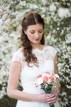 Beautiful lace dress and spring blossom