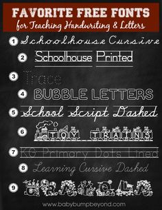 Favorite Free Fonts for Teaching Handwriting and Letters