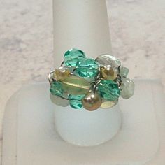 Wire Wrapped Cluster Ring in Turquoise and Aqua. $22.00, via Etsy.
