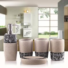 WYMBS Christmas gift simple Europeanstyle Resin bathroom toiletries five piece mug set B