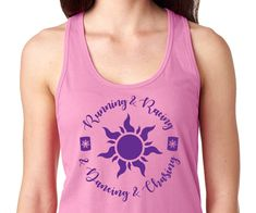 Rapunzel Running Racerback Tank Top Running Tanks, Running Leggings, Running Hairstyles, Purple Corset, Disney Marathon, Pink Bubbles, Tank Design, Run Disney, Racerback Tank Top