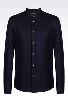 Emporio Armani Men Long Sleeve Shirt - SHIRT IN COTTON PIQUE Emporio Armani Official Online Store