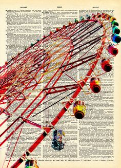 Vintage Book Art Print  Ferris Wheel  by missquitecontrary on Etsy, $10.00