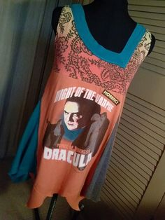 Dracula Lives Sleeveless Mini Dress or Swing Tunic by Altered St8 Couture. Upcycled / Altered / T-shirt / Vampire / Top / Shirt / Trapeze / DIY / Maternity  #maternity #refashioned #classichorrormovie #diy