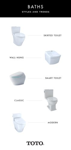 TOTO toilets come in a variety of styles, perfect for any bathroom. Which style is your favorite? Toto Toilet, Toilet Wall, Smart Toilet, Toilets, Showers, Cleaning, Bathroom, Modern, Style