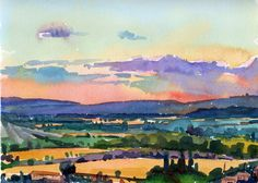 Sunset Over Luberons, Provence 12 x 15 in., Watercolor