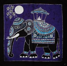 Batik Wall Hanging  Elephant Tapestry Batik Art  Hand made