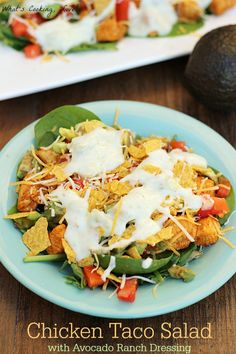 Chicken Taco Salad with Avocado Ranch Dressing. A chicken taco salad that is topped with a creamy avocado ranch dressing. The salad tastes great and contains added health benefits from the avocados. #LoveOneToday #ad
