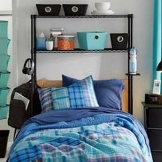 You were just gonna stick a 1D poster there anyway, so why not maximize the space over your bed with these rad shelves?   19 Dorm Room Tips That'll Get You Instantly Organized