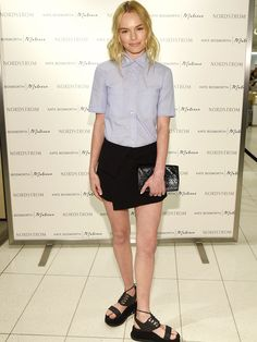 Kate Bosworth in Vanessa Bruno and the Matisse Dawn sandals // blue button down, black skirt, black clutch, and black sandals