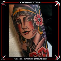 Designed and Tattooed by: Tadeja Dragon Tattoo Gypsy Women, Tattoo Portfolio, First Tattoo, Color Tattoo, Old School, Take That, Dragon, Handsome, Scene