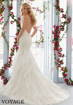 Wedding Dress 6813 Embroidered Lace Appliques on Soft Net  Flounced Gown with Shoestring Straps