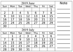 48 Best Blank Calendar June 2019 For PDF Word Excel images