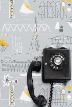 Festival by Mini Moderns UK / Their personal celebration of the 1951 Festival of Britain / Great colour Grey, yellow + white Trendy Wallpaper, New Wallpaper, Wallpaper Ideas, Cartoon Wallpaper, Vintage Phones, Old Phone, Seesaw, Grey Yellow, Yellow Style