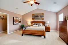 Our beautiful Owner's Suite bedroom at The Meadows in Morgantown, WV. Open room with lots of natural light and warm colors. Our Hampton II Model