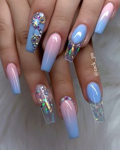 40 Fabulous Nail Designs That Are Totally in Season Right Now - pretty nail art designs,mix and match nail art design, acrylic nail art, nail designs with glitter Cute Acrylic Nail Designs, Beautiful Nail Designs, Nail Art Designs, Nails Design, Beautiful Beautiful, Nail Crystal Designs, Beautiful Pictures, Summer Acrylic Nails, Best Acrylic Nails