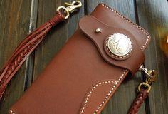 Handmade leather coffee biker wallet chain bifold Long wallet purse clutch for men