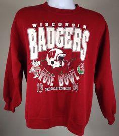 Vintage 1994 Wisconsin Badgers Rose Bowl Sweatshirt Size Medium Large   eBay