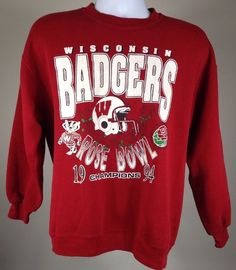 Vintage 1994 Wisconsin Badgers Rose Bowl Sweatshirt Size Medium Large | eBay