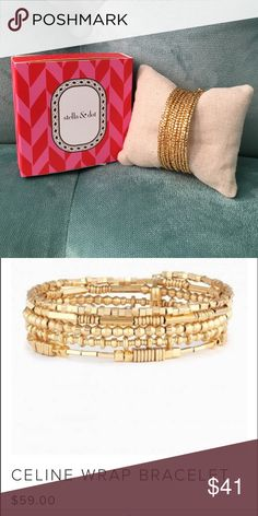 Stella & Dot NWT Celine Wrap Bracelet Stella & Dot NWT Celine Wrap Bracelet. Semi-precious hematite, metallic, and shiny silver beads or shiny gold coil wrap bracelet with alternating beads add dimension and interest to this coil wrap bracelet. Finished with delicate mini tassels.  Mixed Metal Plating Adjusts to Fit SM-LG Wrists Available in semi-precious hematite or shiny gold Stella & Dot Jewelry Bracelets