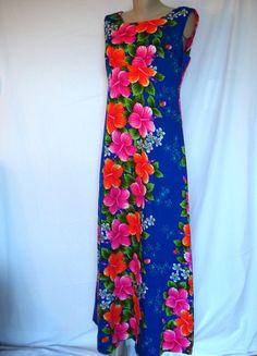 Vintage 70s Hibiscus Hawaiian Dress Bright Neon Sleeveless Maxi M L