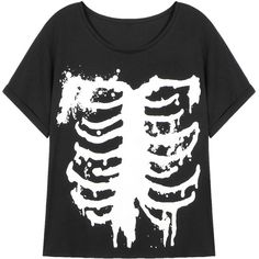 Yoins Black T-shirt With Skeleton Print ($15) ❤ liked on Polyvore featuring tops, t-shirts, shirts, black, skeleton tee, skeleton shirt, skeleton tops, print shirts and goth t shirts
