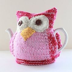 Updates from taffertydesigns on Etsy Tea Cosy Pattern, Different Shades Of Pink, Tea Cozy, Tea Cosies, Cozies, Drinking Tea, Crochet Flowers, Pink And Green, Hand Knitting