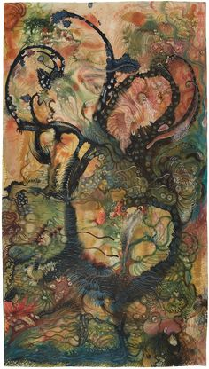 Izabella Ortiz L'ecume des Songes , 2017 Ink, felt pen, colored pencil, acrylic paint on paper x inches 180 x 100 cm IzO 43 Alphonse Mucha, Outsider Art, Psychedelic Art, Pretty Art, Aesthetic Art, Love Art, Unique Art, Bunt, Art Inspo