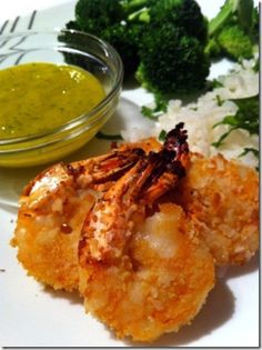 Gluten-free Crispy Baked Coconut Shrimp with Fresh Mango Dipping Sauce - secret ingredient: Popchips!