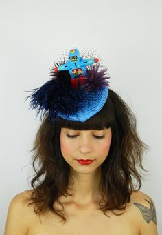 Robby the Robot Buntal Pointed Percher Fascinator  Have you met my friend? His…