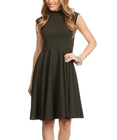 Loving this Olive Sleeveless Sweetheart Dress on #zulily! #zulilyfinds