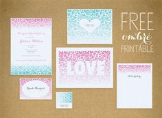 Ombre Free Printable Party or Shower Invitation Set