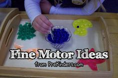 Lots of ideas for Fine Motor Skills.  Great ways to entertain on a rainy afternoon or keep young ones learning while you are working with older kids