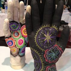 Mehndi art: Ever wonder what to do with latex gloves? Try making colorful patterns using Bic sharpies. Dick Blick walk-up workshop.