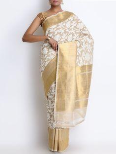 Buy Beige Tussar Silk Zari Banarasi Handwoven Saree Sarees Woven Classical…
