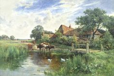 Henry H. Parker (British, 1858-1930) Cattle watering beside a farm
