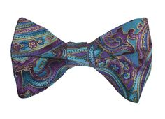 Handmade Pre-Tied Bow Tie - Purple and Blue Paisley Design with Gold Accents - Baby to Adult Men's Sizing - Crafted in the USA by HolidayBowTies on Etsy