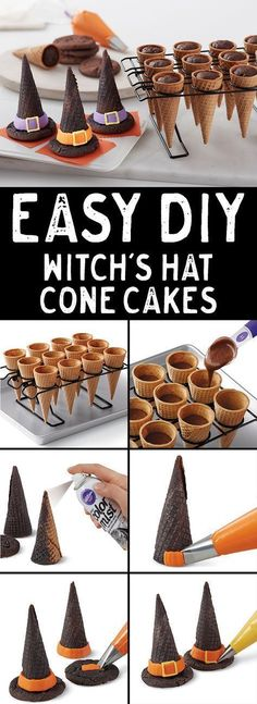 How to Make Halloween Witch Hat Cupcake Cones - Create these cute bewitching con. How to Make Halloween Witch Hat Cupcake Cones - Create these cute bewitching cone hats for . Bolo Halloween, Postres Halloween, Theme Halloween, Halloween Goodies, Halloween Celebration, Halloween Food For Party, Holidays Halloween, Halloween Graveyard, Cute Halloween Treats