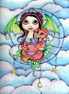 Embrace Your Dragon  Original Watercolor by concettasdesigns, $45.00
