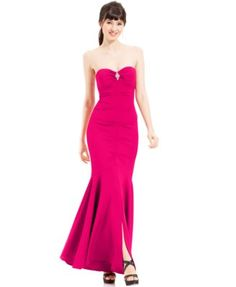 Xscape Strapless Ruched Mermaid Gown | macys.com