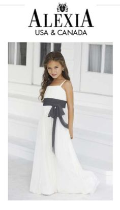 Ivory dress with dark grey accent.  http://www.alexiadesigns.com/Bridesmaids/Junior-Bridesmaids/Short-Straps-Ruching-Bow-Style-42/