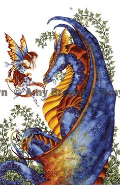 LAST ONE Fairy and Dragons small print set by Amy by AmyBrownArt
