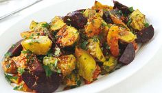 Gold kumara and beetroot salad with orange dressing