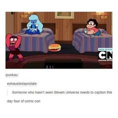 Blue girl and guy try and hide giant cheese burger under the bed from red girl but it didn't work as well as planned. So while red is freaking out about not being able to find it, the guy is freaking out she is going to see it while the blue girl just sits there calm as f****.