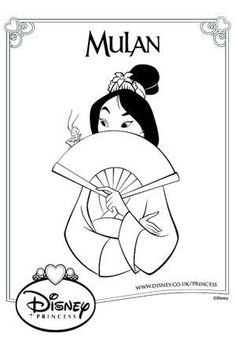 Mulan and Fan Colouring Page