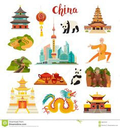 china illustration China Landmarks Vector Icons Set Stock Vector - Illustration of beijin, icon: 98878181 Chinese Icon, Chinese Art, Chinese Dragon, China Map, China China, China Food, Panda China, Chinese Crafts, Chinese Cartoon
