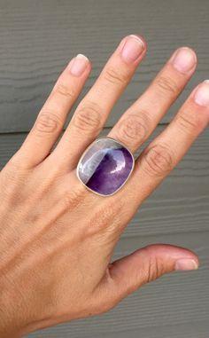 Large Rectangle Cushion Cut Purple Amethyst Lace Agate Spiritual Gemstone Boho…
